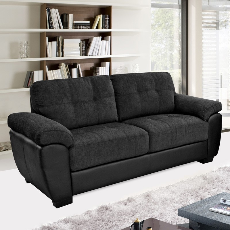 Newport Black Fabric & Leather Match Sofa Collection Regarding Fabric Sofas (Image 8 of 10)