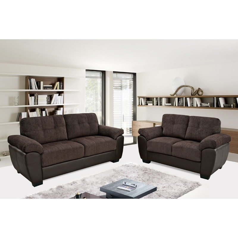 Newport Chocolate Brown Chenille Fabric & Leather Match Sofa Collection In Newport Sofas (Image 2 of 10)
