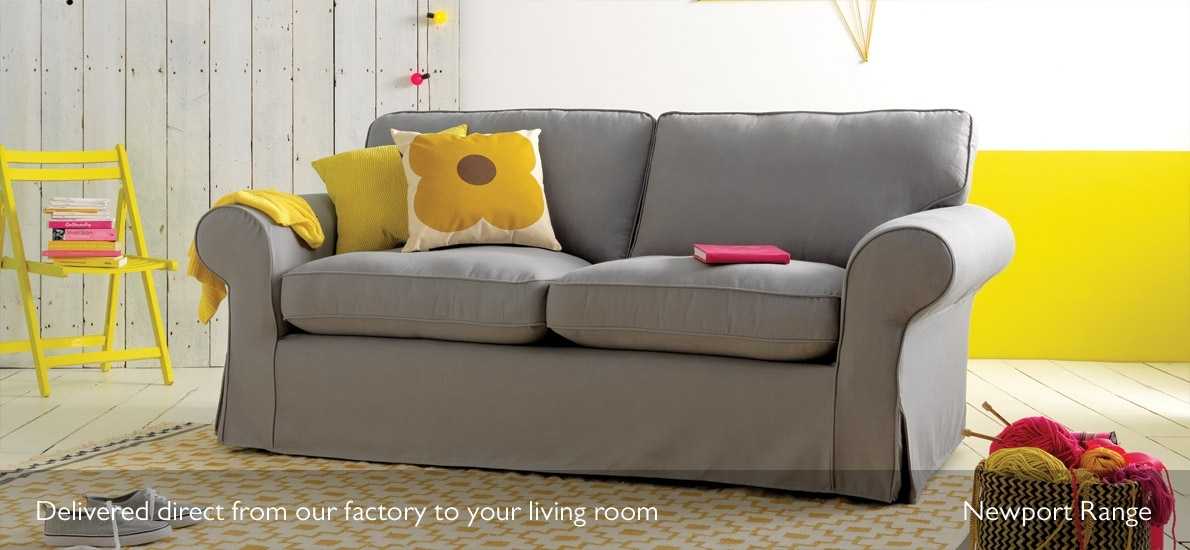 Newport Loose Cover Fabric 3 Seater Sofa | Sofasofa | Sofasofa Inside Sofas With Removable Cover (Image 5 of 10)