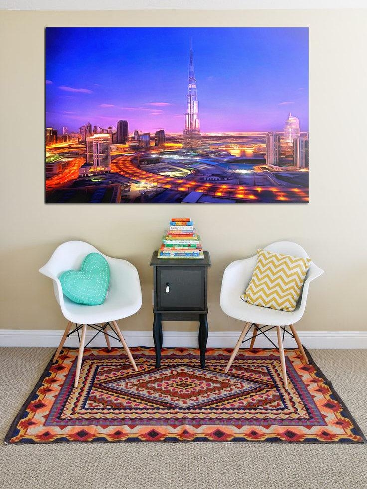 Night Dubai Canvas, Night City Large Art Painting, Dubai Business With Regard To Dubai Canvas Wall Art (Image 16 of 20)