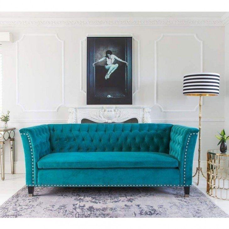 Nightingale Teal Blue Velvet Sofa | Turquoise Sofa, Nightingale And Inside Turquoise Sofas (Photo 1 of 10)