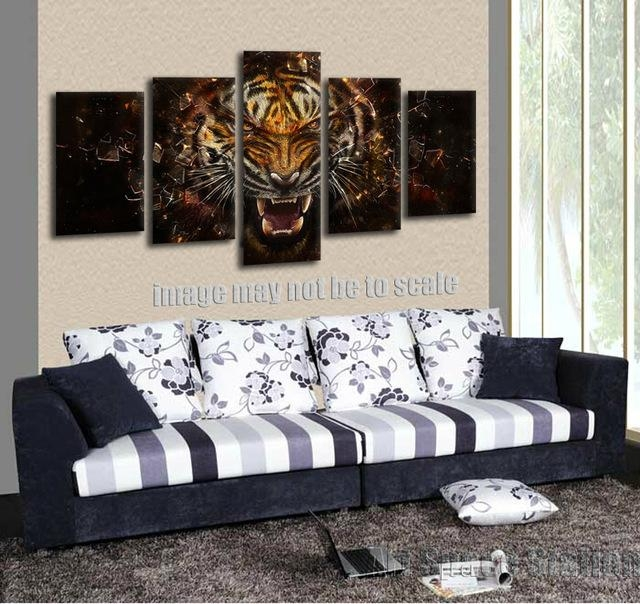 No Frame 5 Panel Wall Art Picture Of Roaring Tiger Poster Abstract Pertaining To Large Framed Abstract Wall Art (Image 17 of 20)