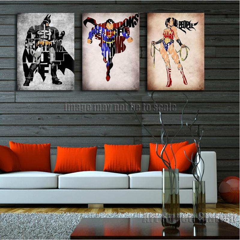 No Frame Batman Wonder Woman Superman Superhero Movie Poster Print With Regard To Movies Canvas Wall Art (Image 16 of 20)