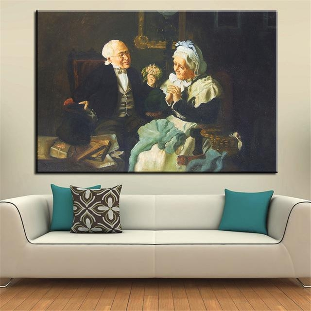 No Frame Home Printed Two Old Couple Portrait Oil Painting Canvas Throughout Portrait Canvas Wall Art (Image 14 of 20)
