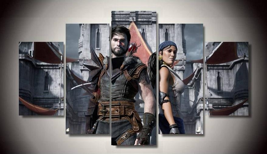 No Framed Printed Game Dragon Age 5 Piece Painting Wall Art For Gaming Canvas Wall Art (Image 11 of 20)