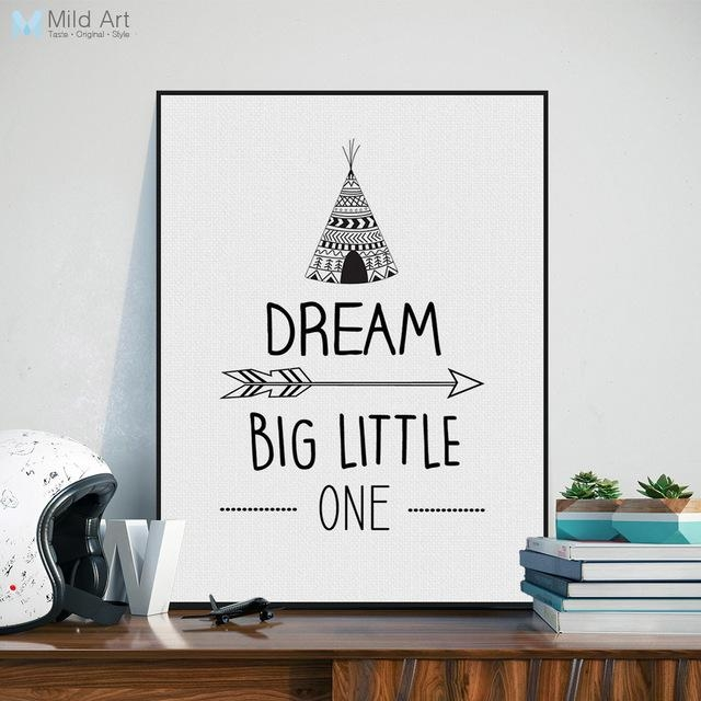 Nordic Black White Inspirational Quotes Dream Poster A4 Modern Regarding Modern Nursery Canvas Wall Art (View 15 of 20)