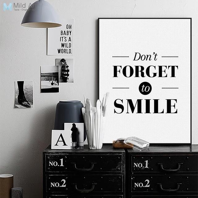 Nordic Black White Motivational Quotes Poster Print A4 Big With Regard To Large Canvas Wall Art Quotes (Image 11 of 20)