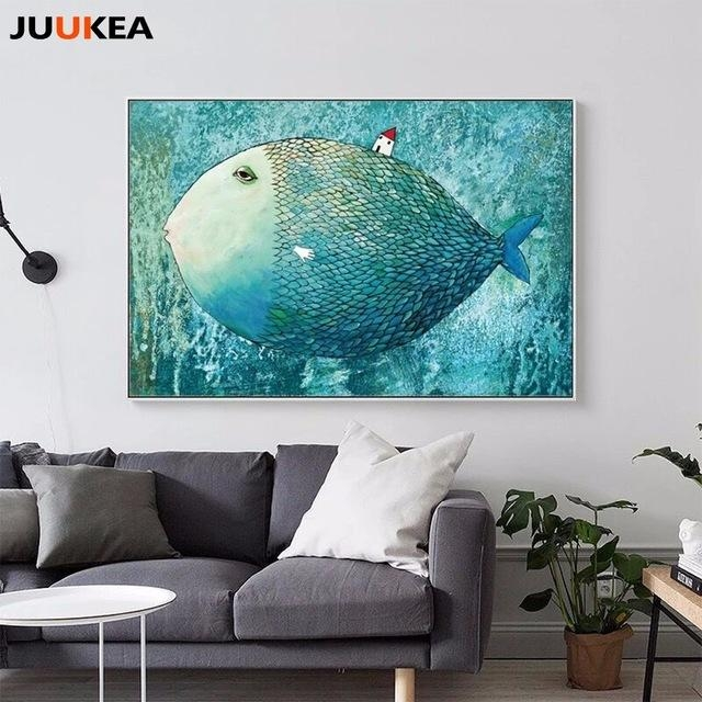 Nordic Canvas Painting Abstract Fish Wall Art Painting Canvas With Regard To Abstract Fish Wall Art (Image 15 of 20)