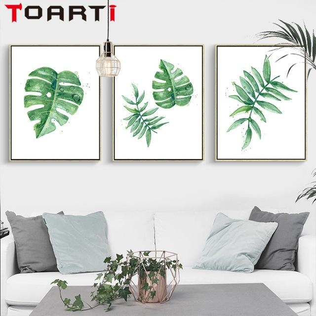 Nordic Green Plant Tropical Leaves Painting Canvas Wall Prints Intended For Leaves Canvas Wall Art (Image 12 of 20)