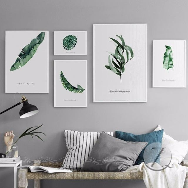 Nordic Home Decoration Abstract Leaf Wall Art Plant Wall Pictures In Abstract Leaves Wall Art (Photo 14 of 20)
