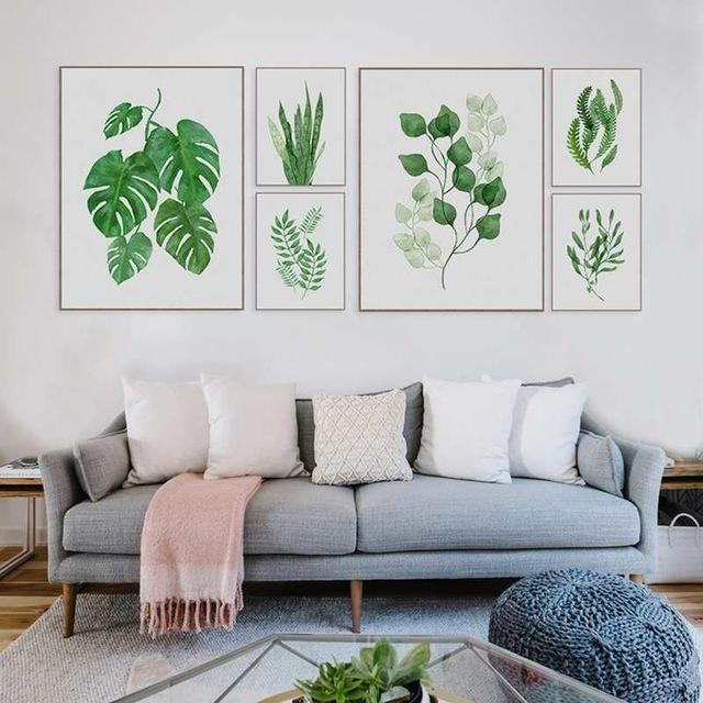 Nordic Modern Watercolor Fresh Plants Green Leaves Wall Art Canvas Throughout Leaves Canvas Wall Art (Image 13 of 20)