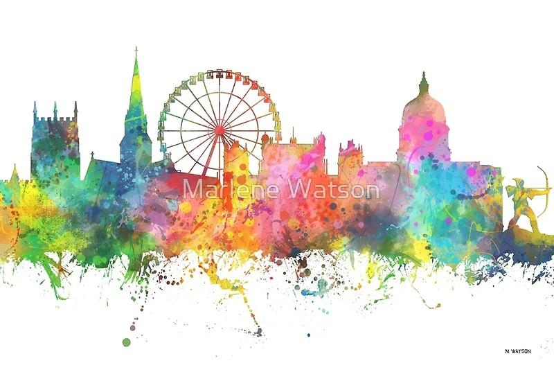 "Nottingham England Skyline"" Canvas Printsmarlene Watson Throughout Nottingham Canvas Wall Art (View 8 of 20)"