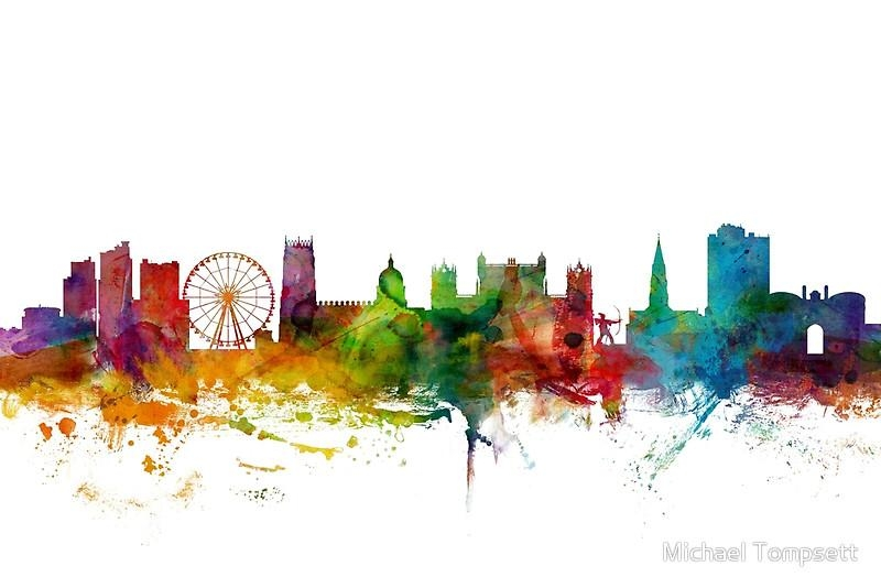 "Nottingham England Skyline"" Canvas Printsmichael Tompsett Pertaining To Nottingham Canvas Wall Art (View 4 of 20)"