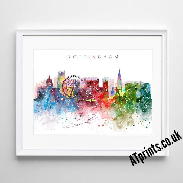 Nottingham Skyline Map Print Poster Watercolour Framed Canvas Wall Within Nottingham Canvas Wall Art (View 3 of 20)