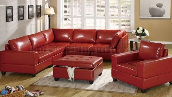 Now Red Leather Sectional Sofa Bonded 5Pc Modular W Storage Ottoman With Red Leather Sectional Sofas With Ottoman (Image 7 of 10)