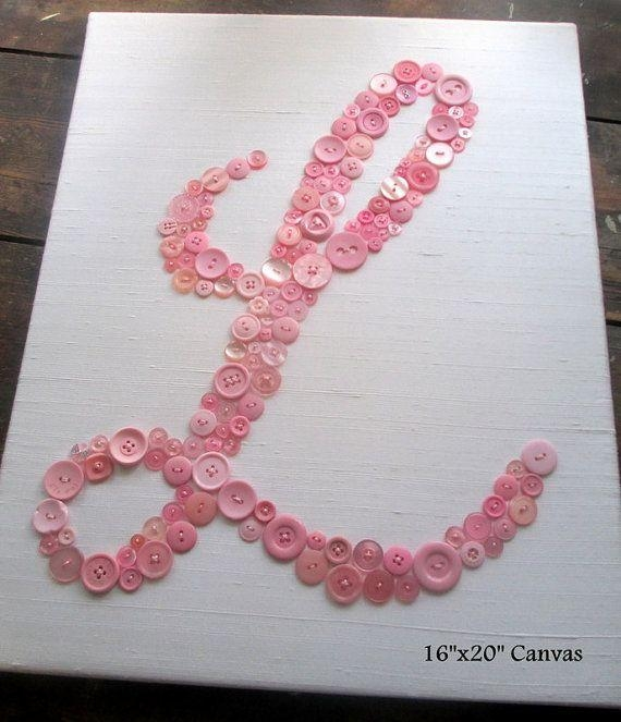 Nursery Wall Art Button Letter L On Silkletterperfectdesigns With Regard To Letters Canvas Wall Art (Image 16 of 20)