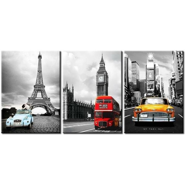 Nyc And Paris Eiffel Tower Big Ben Car London Double Decker Red For London Canvas Wall Art (Photo 15 of 20)