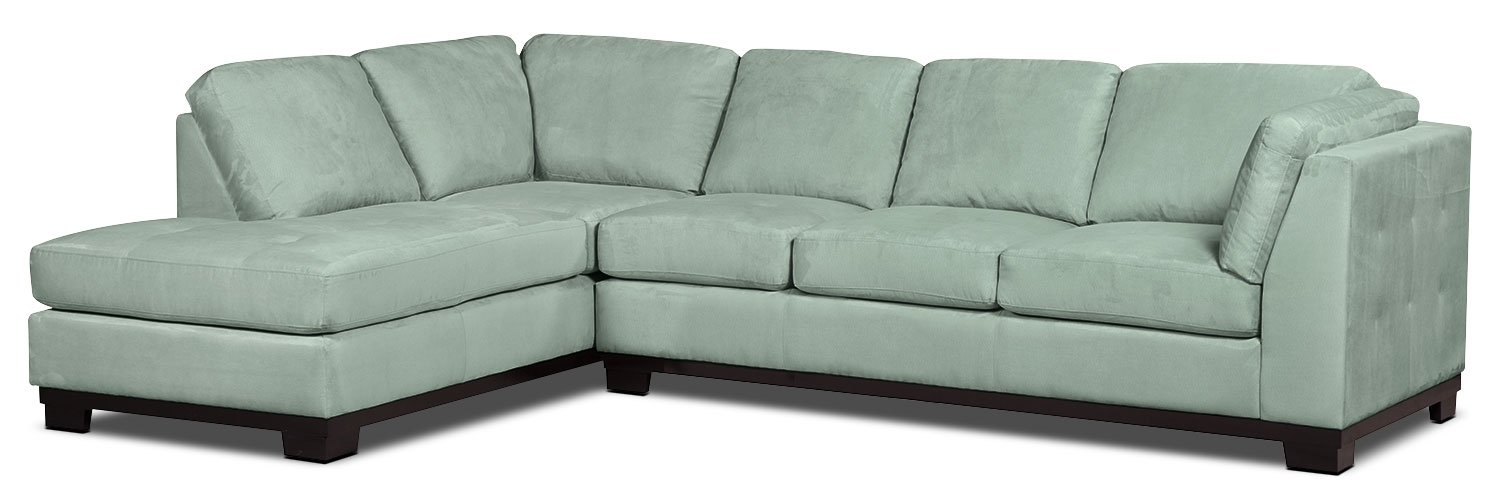 Oakdale 2 Piece Microsuede Left Facing Sectional With Sofa Bed In Sectional Sofas At Brick (Image 2 of 10)