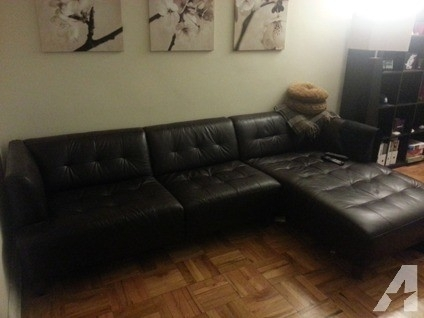 Obo Macy's Alessia Chocolate Brown Leather Sectional Sofa / Couch Regarding Macys Leather Sectional Sofas (Image 9 of 10)