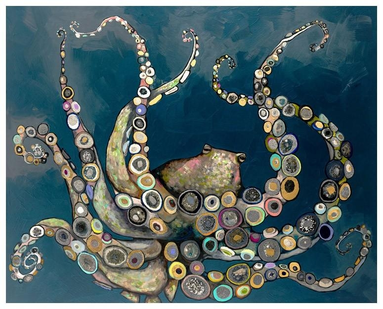 Octopus In The Deep Blue Sea – Metallic, Beach & Ocean Embellished With Embellished Canvas Wall Art (Image 16 of 20)