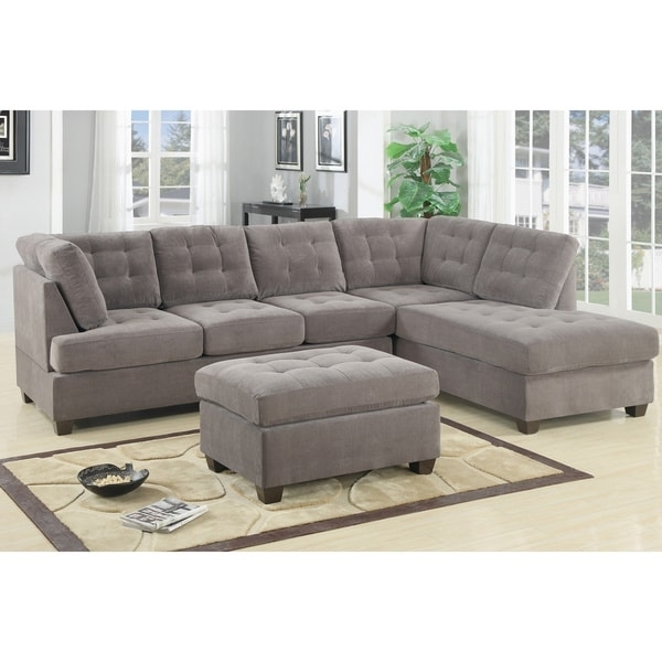 Odessa Waffle Suede Reversible Sectional Sofa With Ottoman – Free With Overstock Sectional Sofas (Image 5 of 10)