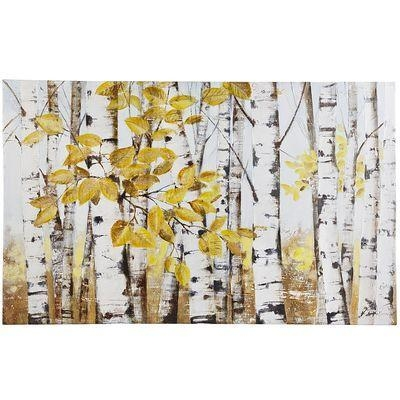 Of Birch Trees Yellow And White Art Inside Birch Trees Canvas Wall Art (View 2 of 20)
