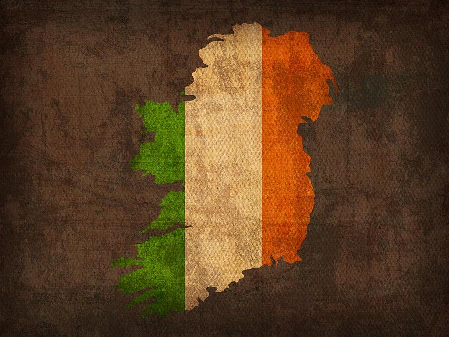 Of Ireland With Flag Art On Distressed Worn Canvas Mixed Media For Ireland Canvas Wall Art (Image 15 of 20)