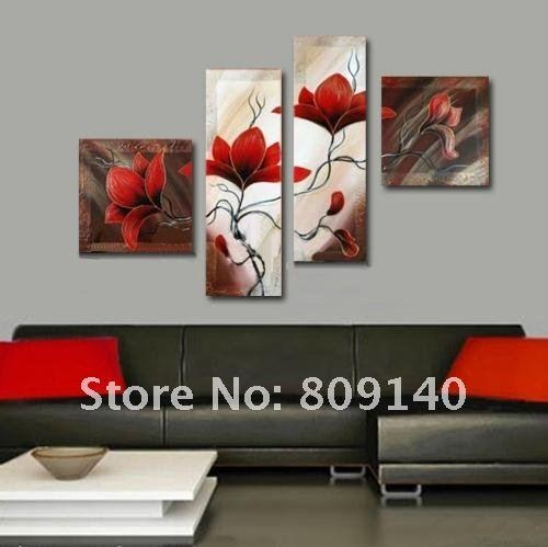 Oil Painting Canvas Red Flower Abstract Decorative Artwork Hand Inside Red Flowers Canvas Wall Art (Image 13 of 20)