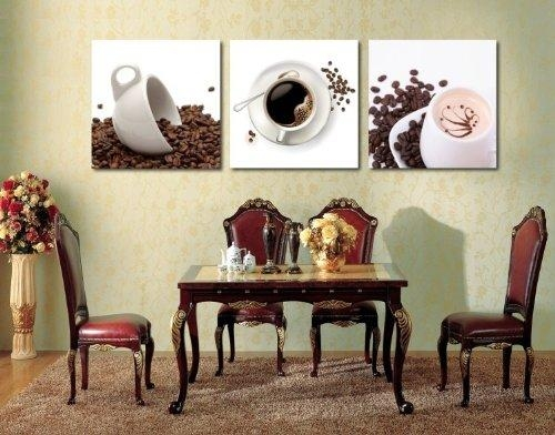 Oil Painting Modern Art Large Canvas Wall Art 3 Piece Canvas Art Intended For Coffee Canvas Wall Art (Image 14 of 20)