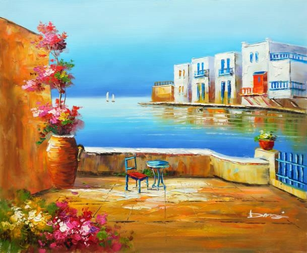Oil Painting On Canvas Mediterranean Greece Garden Yard Towards With Greece Canvas Wall Art (Image 17 of 20)