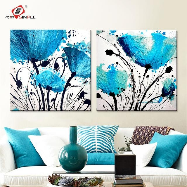 Oil Painting Wall Art Canvas Prints Abstract Blue Flowers Modern For Blue Canvas Wall Art (Image 14 of 20)