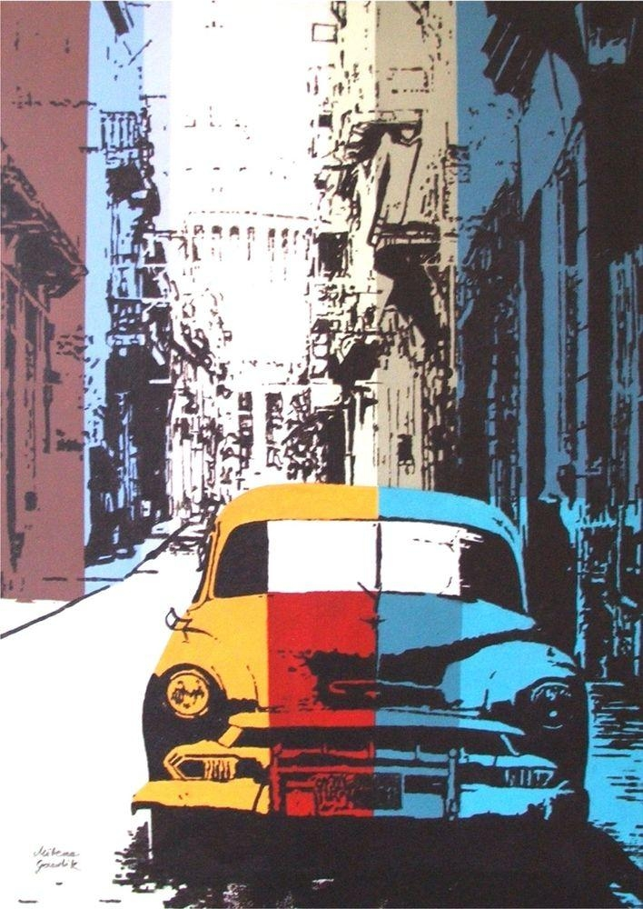 Old Car Street Architecture Cuba Pop Art Acrylic Original Painting Pertaining To Cars Theme Canvas Wall Art (Image 14 of 20)