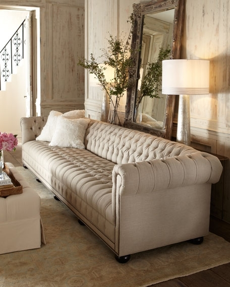 Old Hickory Tannery Hudson Tufted Linen Sofas And Loveseat With Tufted Linen Sofas (Image 8 of 10)