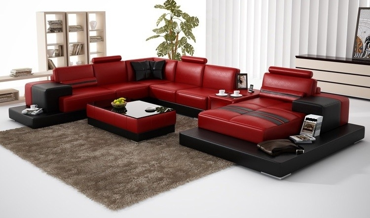 Olympian Sofas Nurburg Red Black Leather Sofa With Red And Black Sofas (Image 5 of 10)