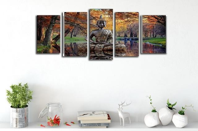 On Sales Canvas Prints Wall Decor 5 Panel Autumn Landscape Art Pertaining To Portrait Canvas Wall Art (Image 15 of 20)