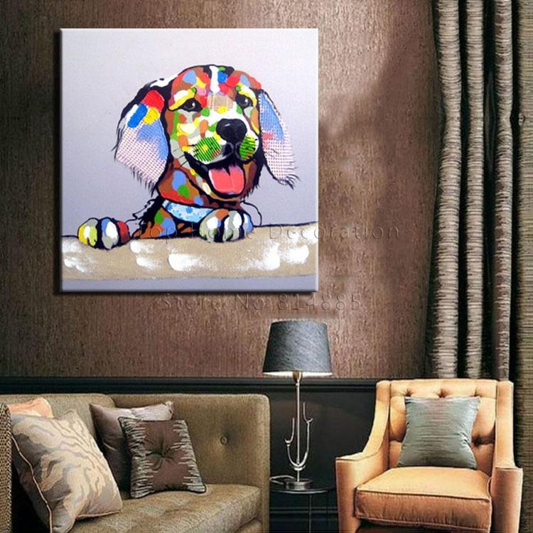 Online Get Cheap Textured Oil Paintings  Aliexpress | Alibaba With Regard To Dogs Canvas Wall Art (Image 18 of 20)