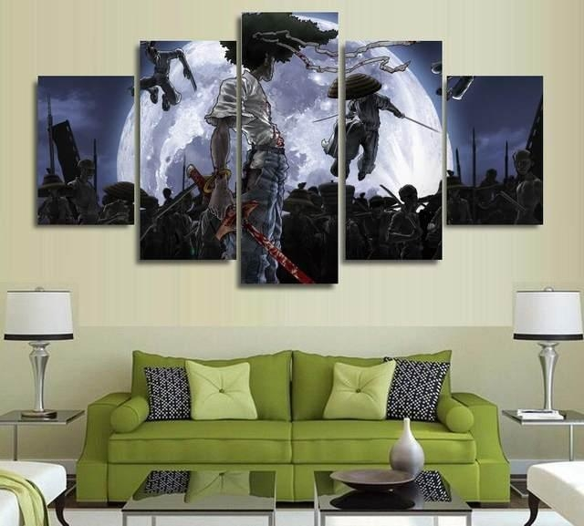 Online Shop 5 Panels Anime Canvas Print Painting Modern Afro With Anime Canvas Wall Art (View 15 of 20)