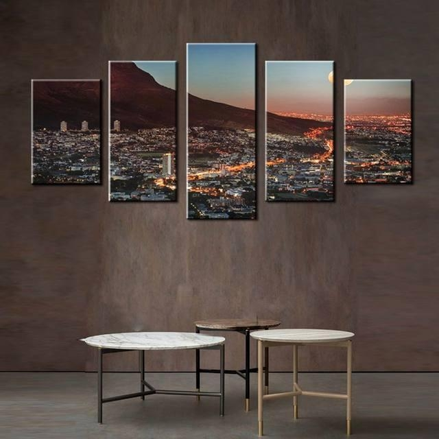 Online Shop Art Gallery Painting Cape Town Mountain With Moon With Cape Town Canvas Wall Art (Image 18 of 20)