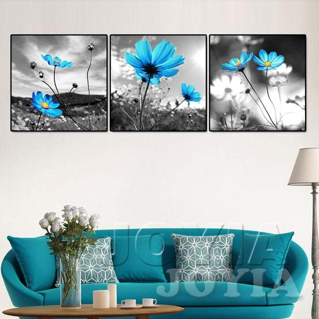Online Shop Canvas Wall Art Decoration Wall Pictures Blue Flower In Blue Canvas Wall Art (Image 15 of 20)