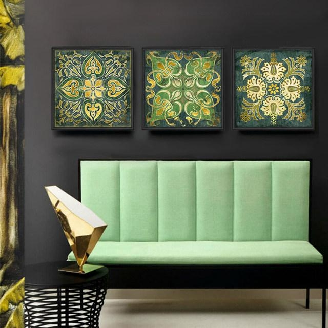Online Shop Emerald Indian National Pattern Retro 3 Piece Canvas Regarding Retro Canvas Wall Art (Image 15 of 20)