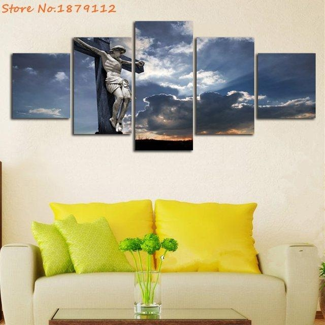 Online Shop Hot Sale Abstract Unframed Hd Print 5 Pieces The Death In Jesus Canvas Wall Art (Image 17 of 20)