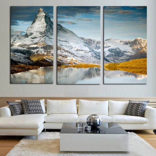 Online Shop Large Canvas Prints Wall Art 3 Pieces Scenery Pertaining To Mountains Canvas Wall Art (Image 17 of 20)