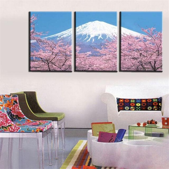 Online Shop Modern 3 Panel Japanese Mount Canvas Wall Art For With Regard To Japanese Canvas Wall Art (View 6 of 20)
