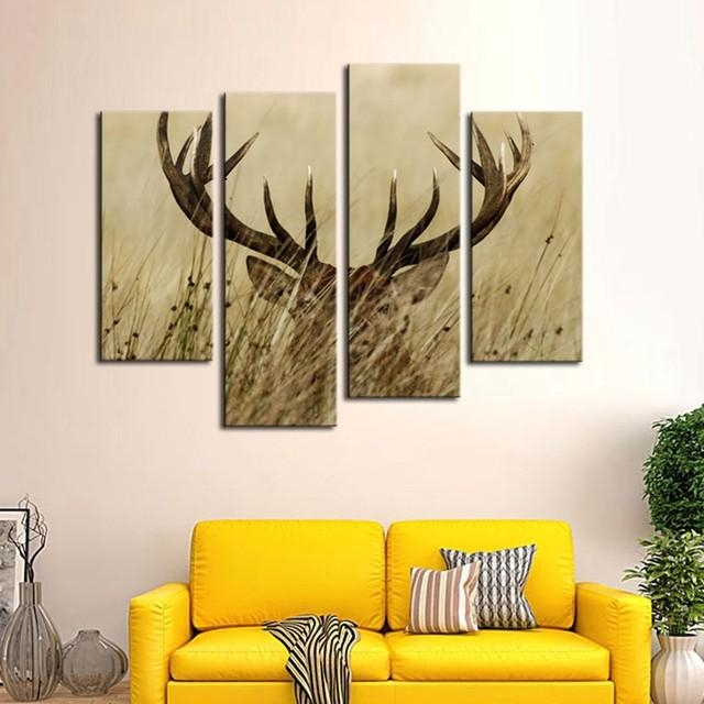 Online Shop Modular Wall Art Canvas Pictures Home Decor Frames 4 In Deer Canvas Wall Art (View 9 of 20)