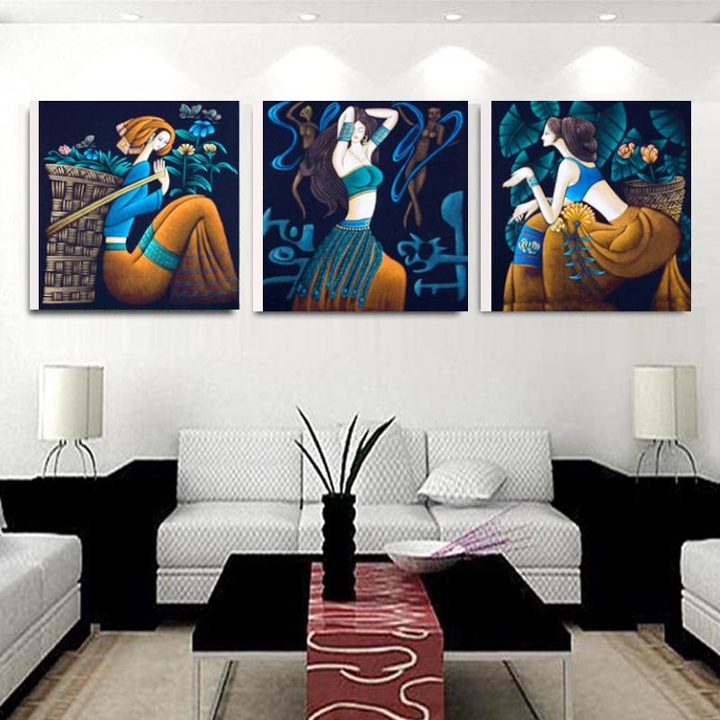 Online Shop No Frame 3 Pcs Modern Abstract Ethnic Girl Modular With Ethnic Canvas Wall Art (Image 19 of 20)
