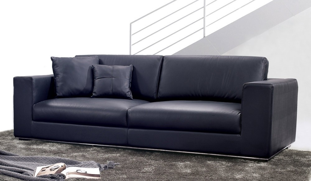 Onyx Leather 3 Seater Sofa In Modern 3 Seater Sofas (View 3 of 10)