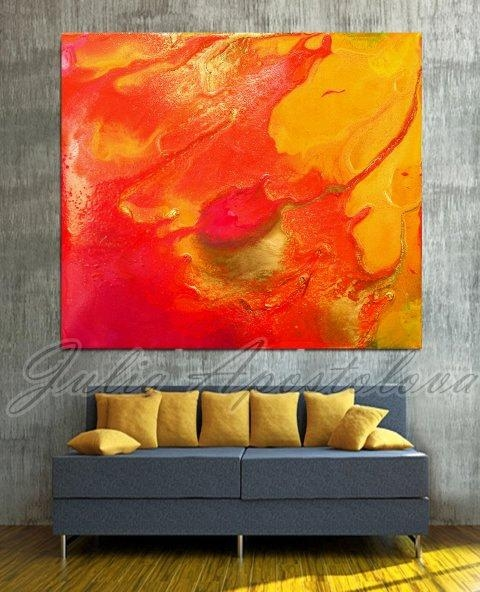 Orange Abstract Print, Painting, Red, Yellow, Orange Painting In Abstract Orange Wall Art (Image 12 of 20)