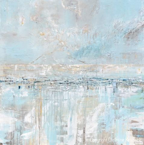 Original Art Abstract Painting Textured Canvas Coastal Landscape Within Abstract Horizon Wall Art (Image 14 of 20)