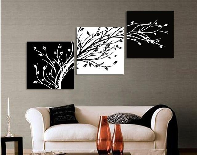 Original Oil Ink 3 Panels Black White Trees Canvas Flower Painting Throughout Black And White Canvas Wall Art (Image 10 of 20)