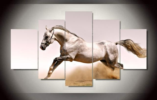Original Oil Ink 5 Pieces Canvas Print Jumping Horse Painting On Pertaining To Jump Canvas Wall Art (View 20 of 20)